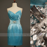 Wholesale 2014 Sexy Crystal Cocktail Dress V neck Blue Satin Charmeuse Sheath Mini Prom Gowns DZ025