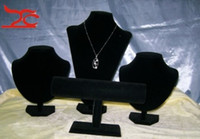 Wholesale Jewellery Display Stand set Black Velvet necklace bracelet watch jewelry holder pack