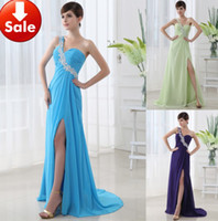 Wholesale In Stock New fashion sexy One Shoulder Chiffon beaded Prom evening Dress Bridesmaid Dresses
