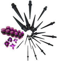 Wholesale Body Jewelry Acrylic cheap Ear Stretching Kit Ear Taper Gauge Plugs Kit black