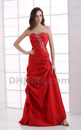 2015 Red Beaded Evening Dresses Satin Pleated Sexy and Fashion Sweetheart Ruched A Line BY067