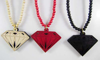 Wholesale Hip Hop style good wood diamond wooden pendant necklace rosary jewelry multicolor cheap