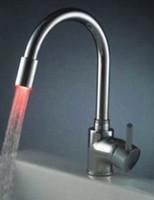 bathroom sink colors - Fashionable Led three Colors bathroom basin Kitchen sink mixer tap chrome Faucet NC8600