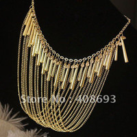 Wholesale Gold Trimmed With Rhinestones Alloy Fashion Figaro Style Necklace