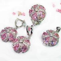 Wholesale Fashion Pink gemstone silver heart set ring earring pendant set