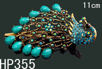 Wholesale hot selling women peacock Rhinestone alloy hair clips hair accessories HP355