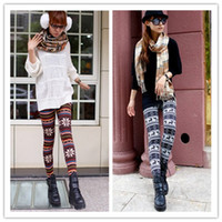 Wholesale Warm Snowflake Christmas Leggings Women s Snow Pants Thick Winter Leggings Tattoo Tights Leggings