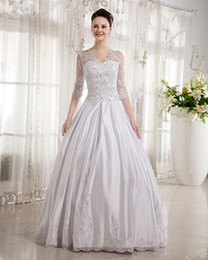 Wholesale White Luxury Sweetheart V neck Long Sleeves Floor length Appliques Satin Lace Wedding Dresses