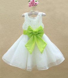 Wholesale girl s party Dress children Voile Dress with big bowknot christmas kid s evening dress free EMS