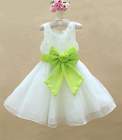 girl's party Dress children Voile Dress with big bowknot chr...