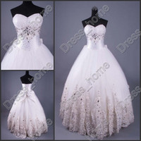 Wholesale 2013 Hot Sale Sexy Bridal Dress Sweetheart Ruffle Lace Bows Applique Beaded Crystals Wedding Gowns