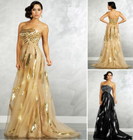 Wholesale 2013 DHgate Sexy Black Prom Dresses Strapless Tulle Sequins Cheap Gold Evening Dresses MNM6739