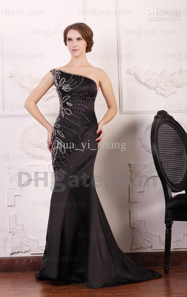 2015 Sexy Black Satin Mermaid Prom Dresses One Shoulder Beaded ...