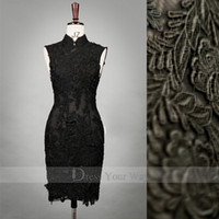 Wholesale Chinese Style Black Qipao High Collar Sheath Prom Dress Knee Length Lace Adorned Cheongsam DZ036