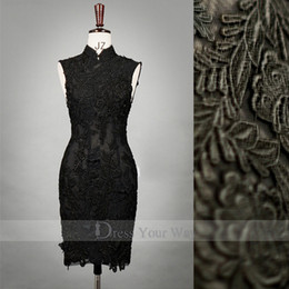 Wholesale Chinese Style Black Qipao High Collar Sheath Prom Dress Knee Length Lace Adorned Cheongsam DZ036