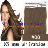 Wholesale 16 quot tape skin human hair extensions chestnut brown g set