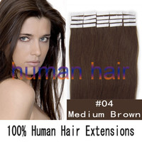 Wholesale 16 quot tape skin human hair extensions medium brown g set