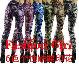 Wholesale Gothic Personality death skull printing Nine minutes women leggings Clothing Women s Pants FREE size