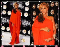 Wholesale 2011 Beyonce Vmas One Shoulder Red Celebrity Dress Long Sleeves Full Length Evening Prom Dress