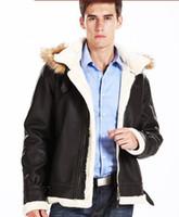 Denim men leather aviator jacket - Men aviator air force leather
