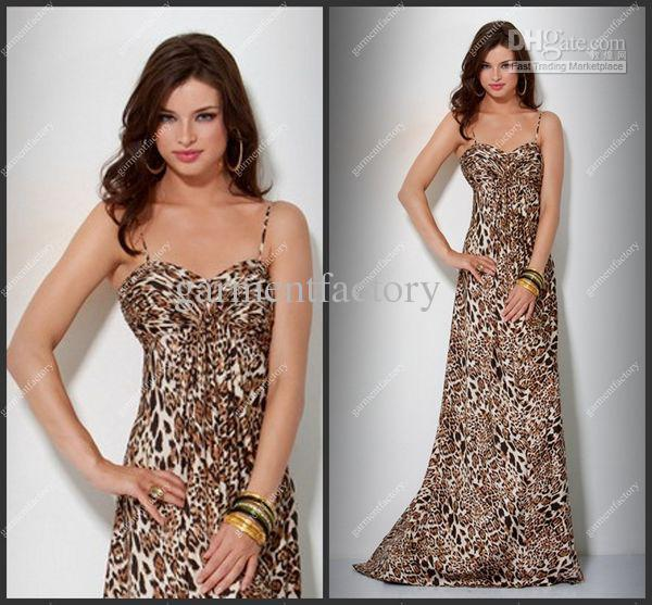 Leopard Print Evening Dresses Gowns 2013 Spaghetti Strap A Line ...