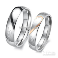 Wholesale S5Q New Heart Shape Matching Titanium Steel Lovers Promise Ring Couple Wedding Bands