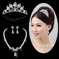 Pearl tiara and jewelry set - 2013 Pretty Pearl Rhinestone Wedding Bridal Jewelry Set For Bridal Tiara And Bridal Necklace Sets