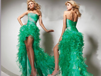 Wholesale 2013 Green Strapless High Low Layered Piping Beads Floor Length Evening Prom Dress For Party Gowns
