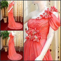 Charming Sexy Handcraft flowers One shoulder Ruffle Lace- up ...