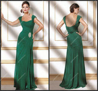 Reference Images Square Chiffon Emerald Green Chiffon Modest Evening Dresses Gowns Cap Sleeves Square Neckine A Line Formal Dresses