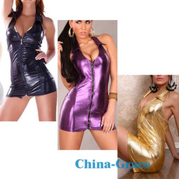Wholesale Sexy Leather Front Halter Backless Zip Mini Dress Clubwear Zipper Dress Stage Wear XY