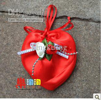 Wholesale Brocade heart shaped with double flowers tulip gift bags bags of candy jewelry bag bags