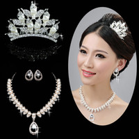 tiara and jewelry set - Glamorous Alloy With Rhinestone And Pearl Bridal Tiara Bridal Necklace Set For Bridal Jewelry Sets