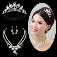 Pearl tiara and jewelry set - 2015 Glamorous Wedding Jewelry Set For Rhinestone Wedding Brdal Tiara and Pearl Bridal Necklace Sets