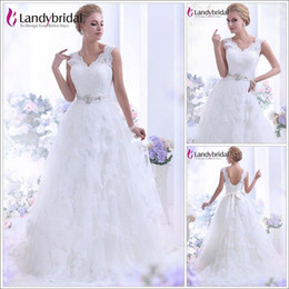 Wholesale A Line V Neck Chapel Train Lace Ivory In Stock Wedding Dress B12093