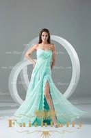 OEM Service Accept Yes Aqua Sheath Chiffon Prom Dress Sweetheart Brush Train Lace Pleat Ruching Bodice Side Slit Zipper