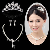tiara and jewelry set - 2013 Charming Bridal Jewelry Set For Rhinestone Wedding Brdal Tiara and Pearl Bridal Necklace Sets