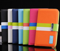 Wholesale rainbow Flip Leather Case PU stand Wallet Cover ID Card Slot Holder for samsung Galaxy note N7100