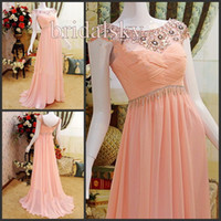 Sheath/Column Sash Chiffon Bateau Short sleeves Rhinestone Beading Sash Column Brush Train Prom Gowns Evening Dresses J-353