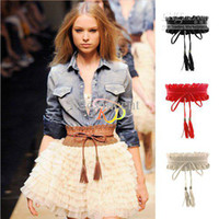 Wholesale S5Q New Sweet Women Girl Fringed Lace Elastic Stretch Buckle WaistbandBelt Strap