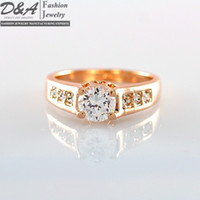 Wholesale Fashion Jewelry Xmas Gift K Real Gold Plated CZ Diamonds Engagement Wedding Ring For Women DR010R