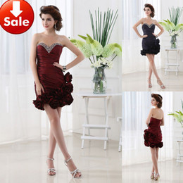 Wholesale Wine Red Purple Cheap Modern Ruffle Beads Taffeta Short Homecoming Party Cocktail Prom dresses