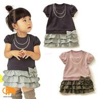 beaded skirt suits - baby girl summer dress Children Ruffle bowknot skirt Suit Wear