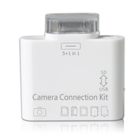 Wholesale 5IN1 USB CAMERA CONNECTION KIT SD SDHC TF CARD READER FOR new IPAD amp AA09