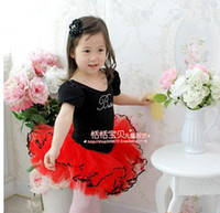 Wholesale Girls Costume Dress Ballet Leotard Tutu Fairy Party Skirt Black Red One piece T T EMS