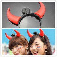 devil horns - 5 Halloween light up devil horn red pink green blue Color Glow Rock Head band