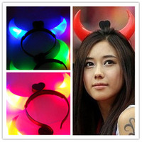 good devil horns - Animal Bull Horns Halloween light up devil horn headband hair clasp flash light for Party