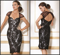 Wholesale 2013 Sexy Open Back Black Lace Cocktail Dress Knee Length See Through Womens Evening Gown Party Wear