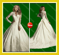 Wholesale 2013 Modest Sheer Long Sleeves Wedding Gowns Vintage Applique Satin Fall Ball Gown Wedding Dresses