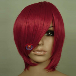 Wholesale Luxury Dark Red Long Layer Bob Cut Short Cosplay Wig Lace Front Synthetic Hair Wig